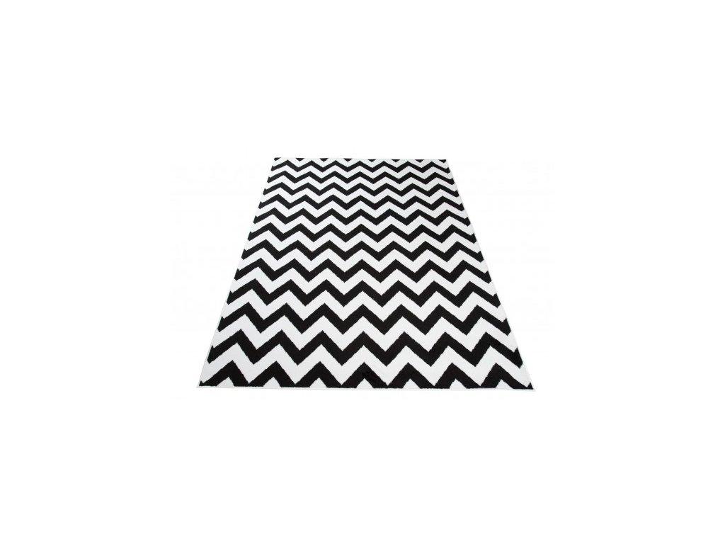 Moderní kusový koberec CHEAP T238B černý / bílý