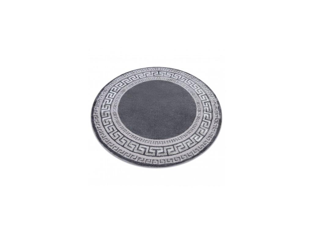 Kulatý kusový koberec MEFE 2813 Řecký vzor šedý