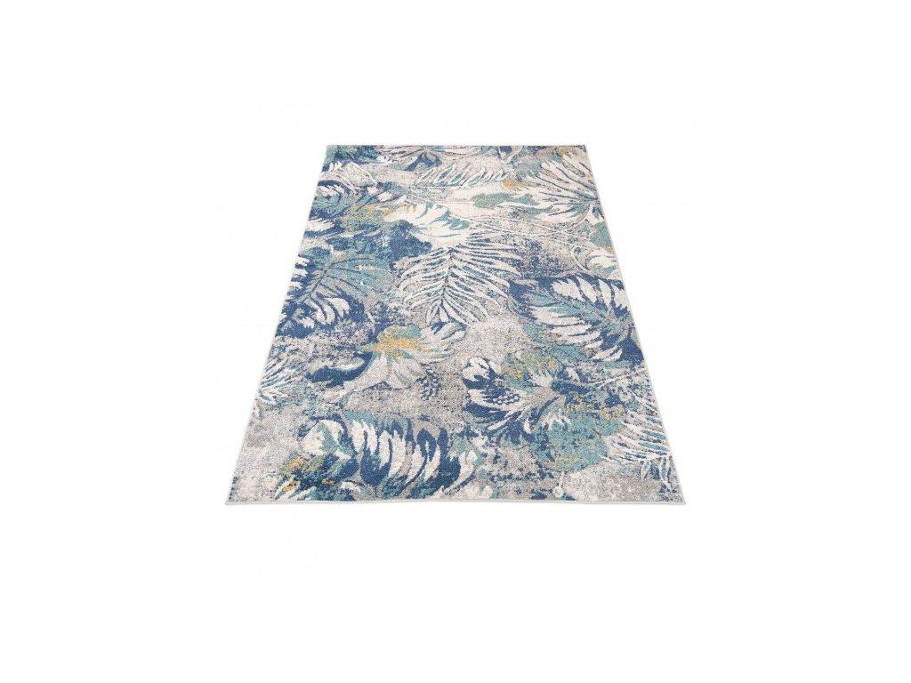 Moderní kusový koberec G059A DENVER Listy modrý / bílý