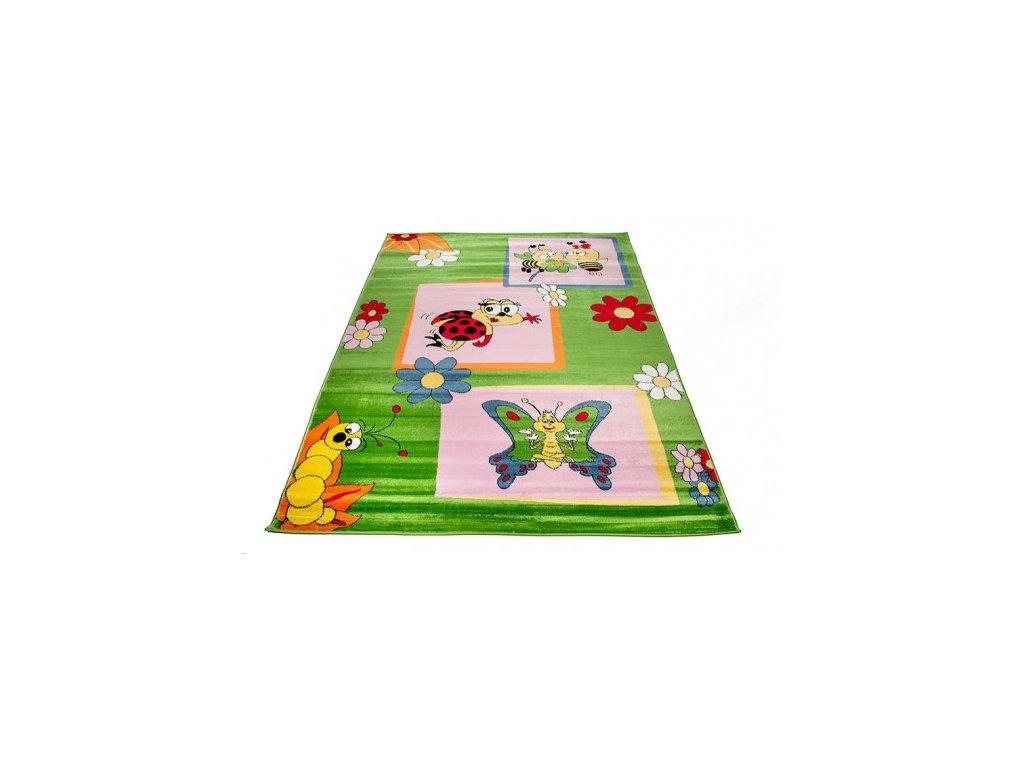 Dětský kusový koberec KINDER A661B Motýl Včelka Beruška zelený