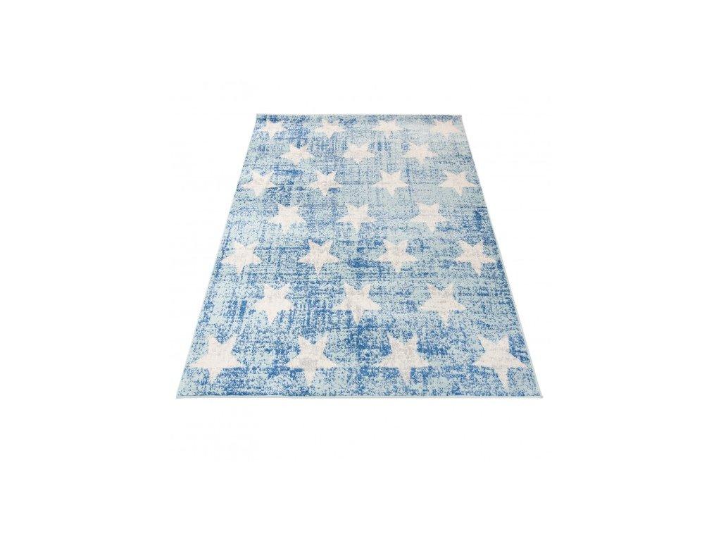 Kusový koberec HAPPY H332A Hvězdy modrý / bílý