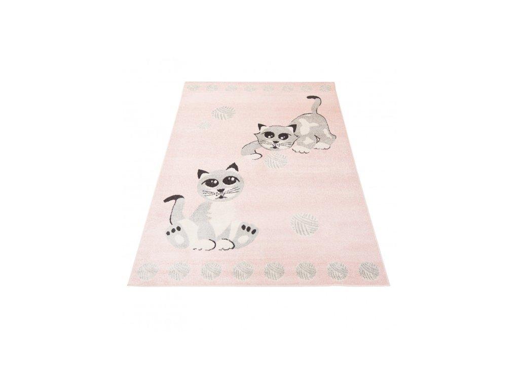 Dětský kusový koberec HAPPY H318A Kočičky růžový / šedý
