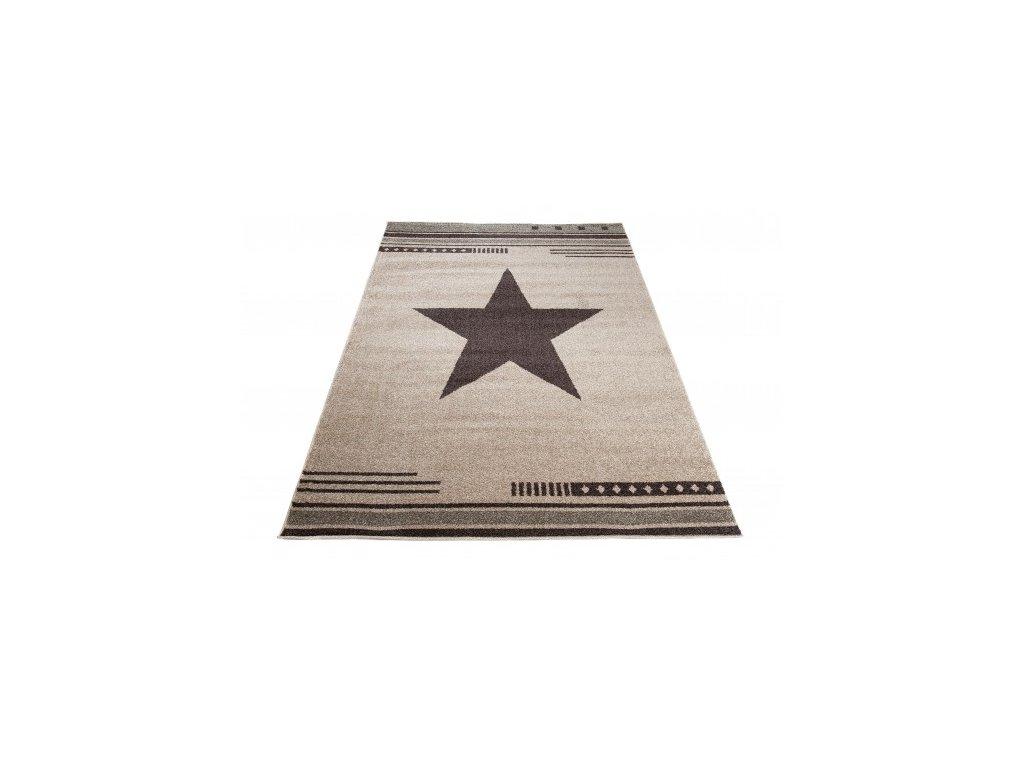 Moderní kusový koberec MAROKO L916C Hvězda krémový