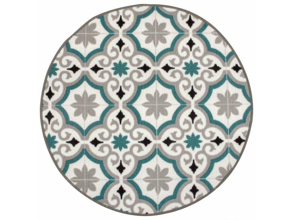 Kulatý koberec Evora Patchwork modrý