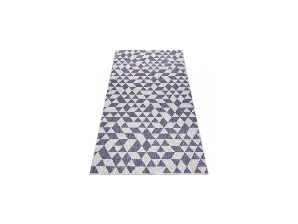 Kusový koberec Sisalový SION 22373 Trojúhelníky ecru / modrý / růžový