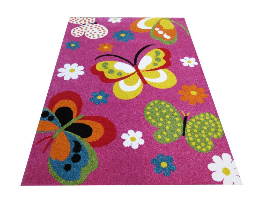 Dětský kusový koberec Mondo 14 Motýli fialový