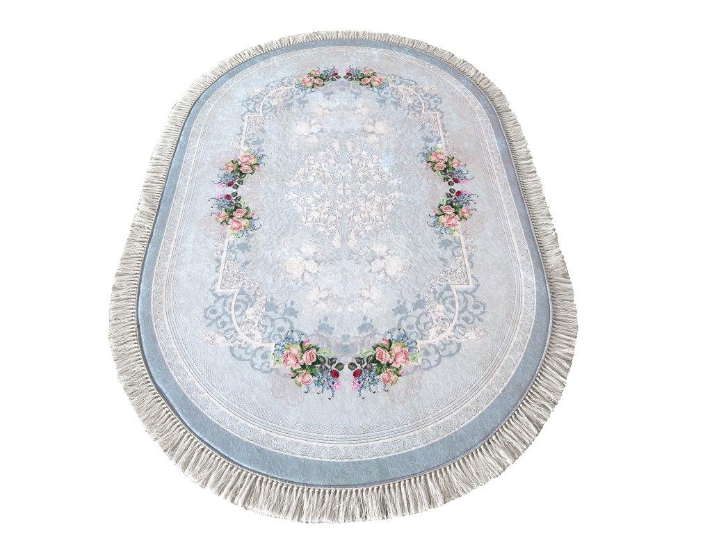 Oválný kusový koberec protiskluzový Horeca 05 Květy modrý