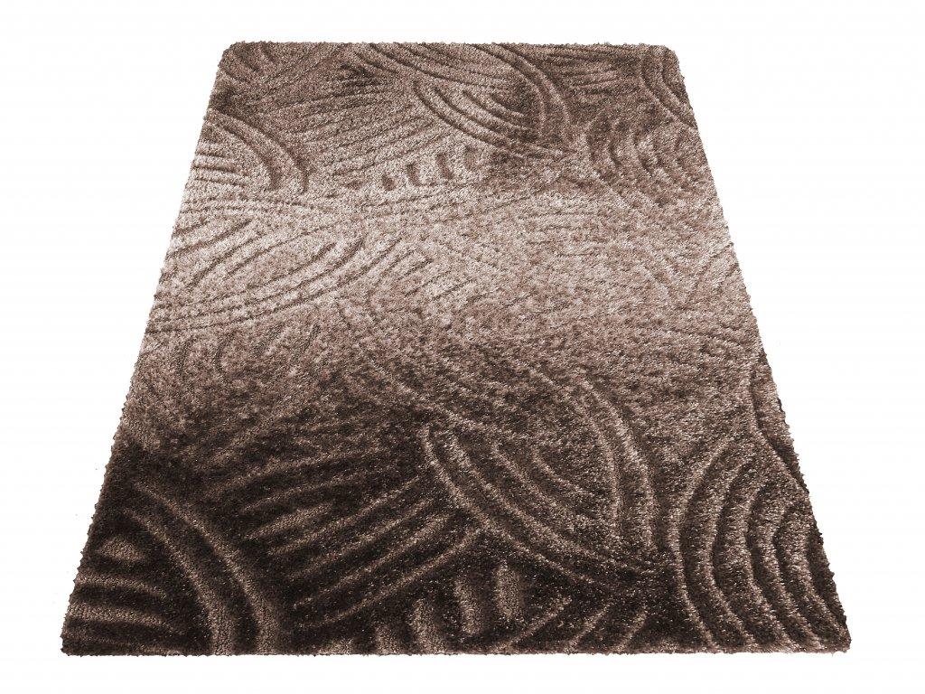 Moderní kusový shaggy koberec Hamptons 02 hnědý