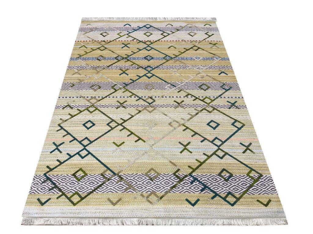 Moderní kusový koberec protiskluzový Hypnotik 05 zelený