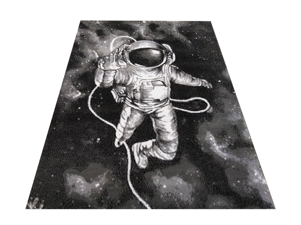 Kusový koberec Soho 11 Kosmonaut šedý / černý