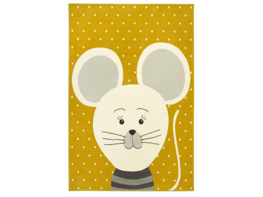 Dětský kusový koberec LUNA KIDS 534221/89955 Myška hořčicový
