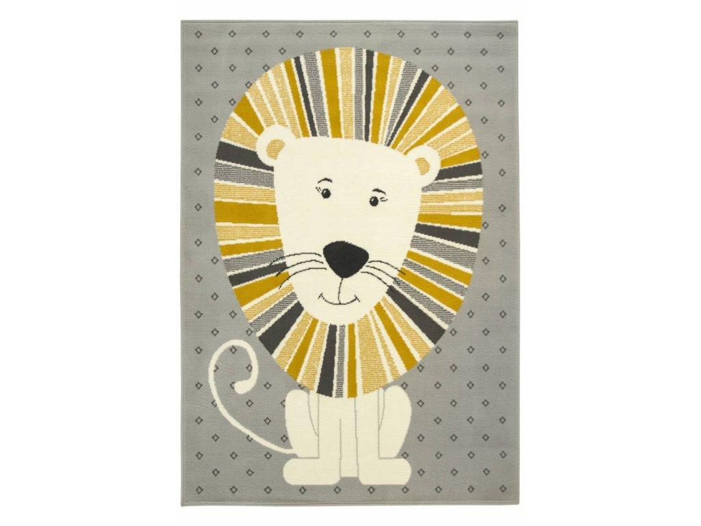 Dětský kusový koberec LUNA KIDS 534212/89945 Lvíček šedý / hořčicový