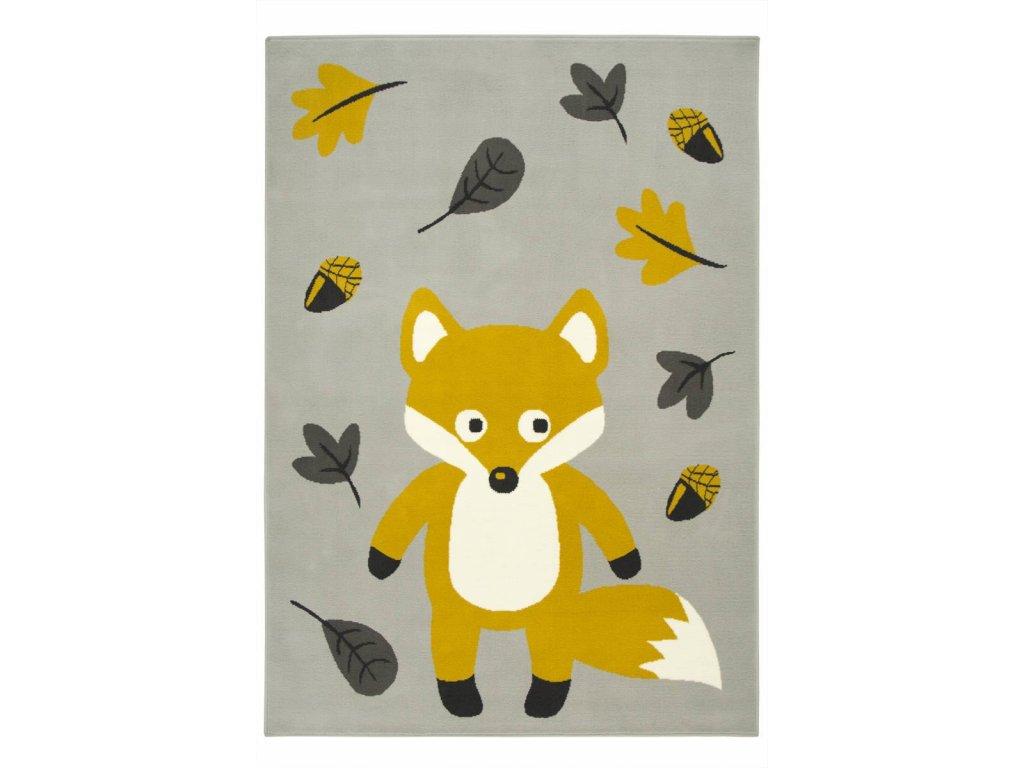 Dětský kusový koberec LUNA KIDS 534431/89945 Liška světle šedý / hořčicový