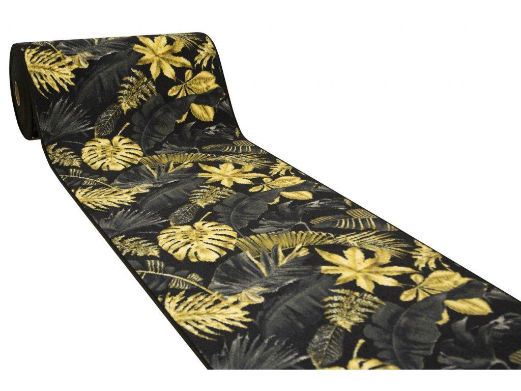 Běhoun Monstera Listy palem černý / zlatý