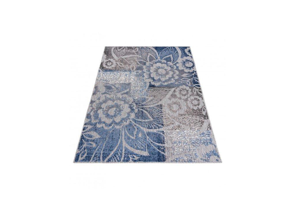 Moderní kusový koberec AVENTURA ED27A Květy šedý / modrý