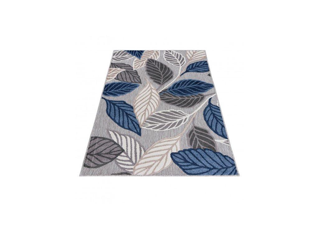 Moderní kusový koberec AVENTURA EC99B Listy stromu šedý / tmavě modrý