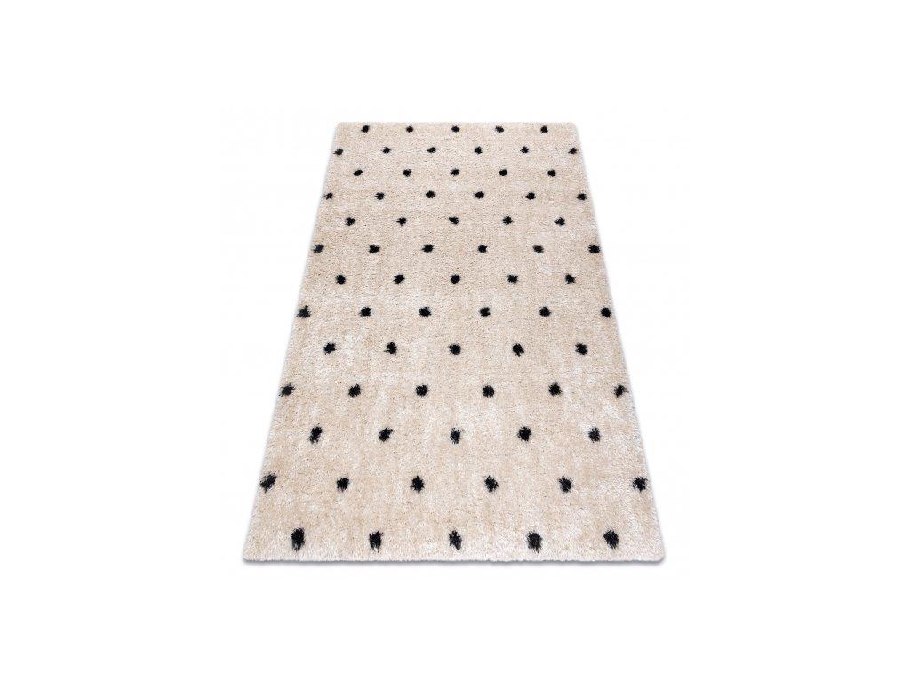 Kusový shaggy koberec FLUFFY 2370 Tečkovaný krémový antracitový