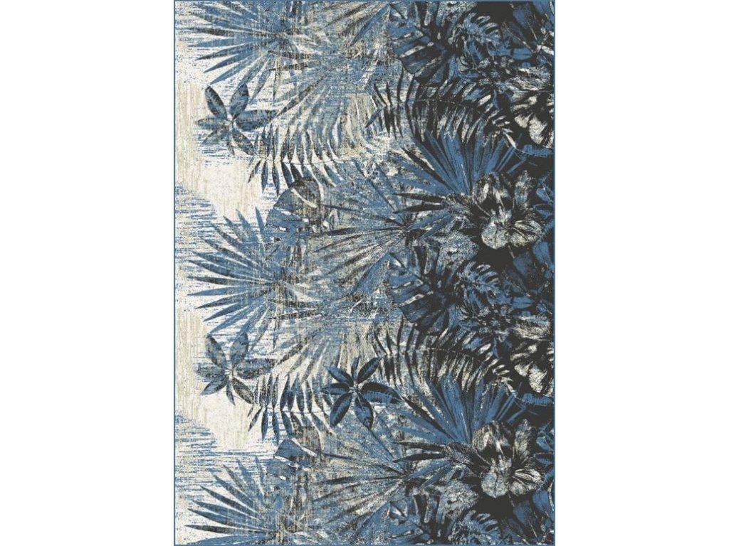 Kusový koberec vlněný Agnella Isfahan Sense Listy Modrý