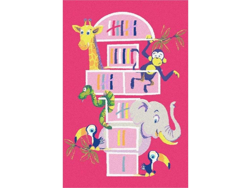 Dětský kusový koberec Agnella Funky Top Tom Amarant Zvířátka Růžový