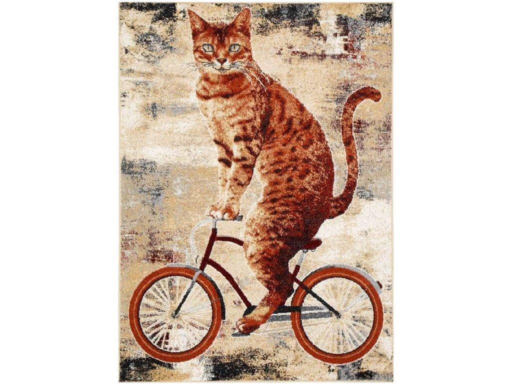 Moderní kusový koberec Agnella Gizel Kedi Kočka Kolo Hnědý Béžový