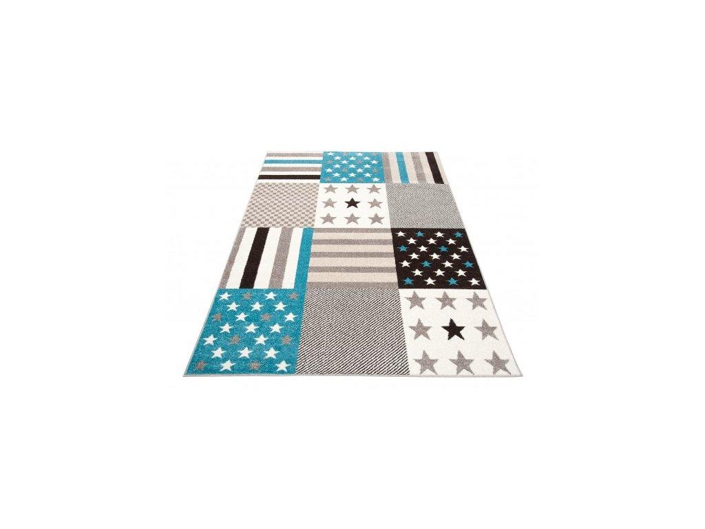 Moderní kusový koberec 36202/37126 FIESTA Hvězdičky šedý modrý