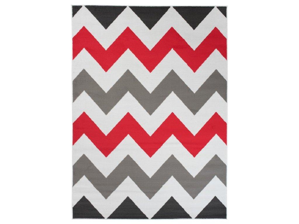 Kusový koberec moderní MAYA Z903F šedý červený bílý