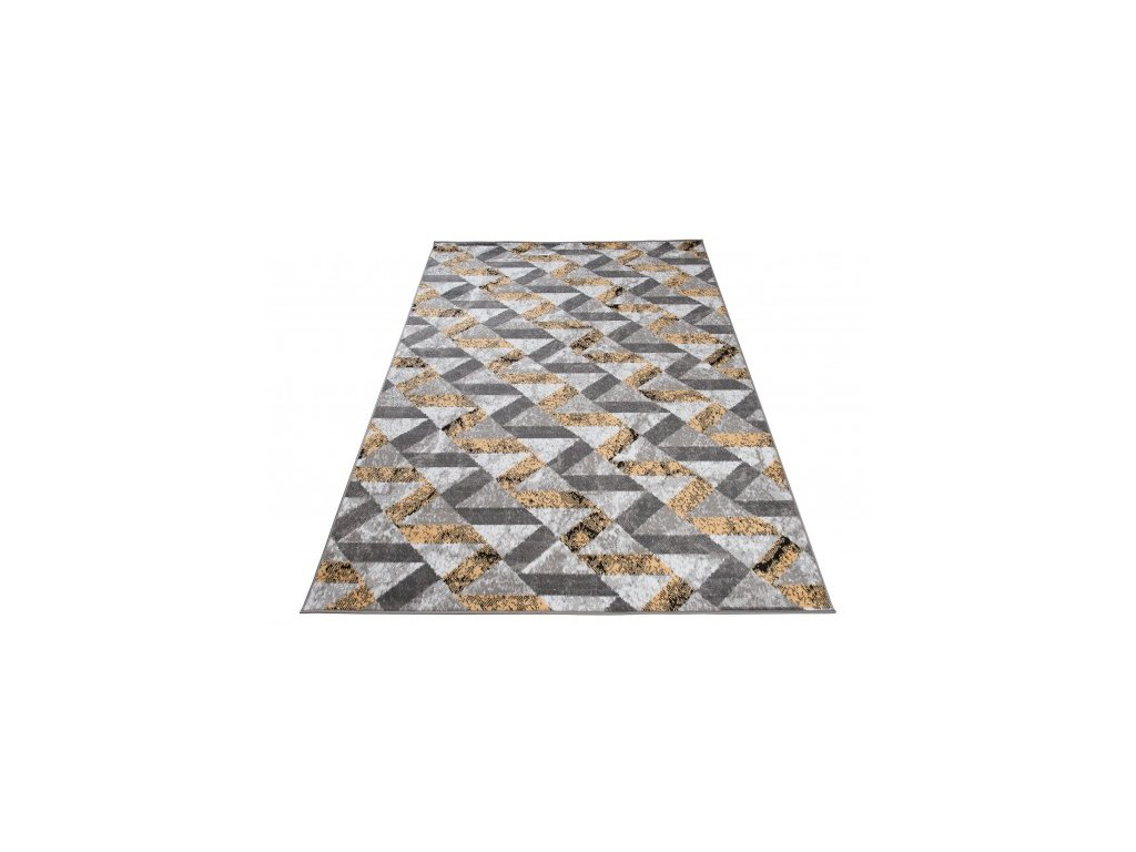 Kusový koberec moderní MAYA Q544C šedý žlutý bílý