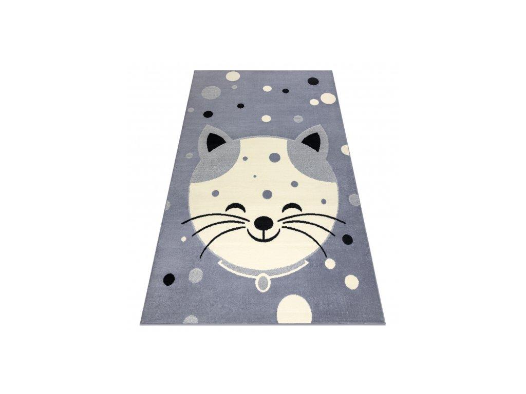 Dětský kusový koberec BCF FLASH 3998 Kočička Šedý