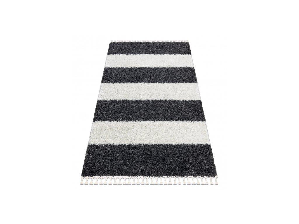 Kusový koberec Shaggy UNION 4079 Pruhy šedý krémový
