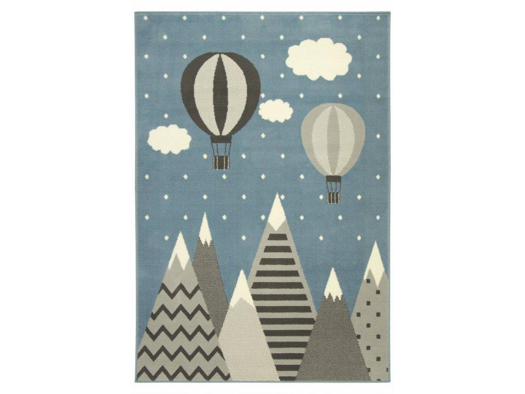 Dětský kusový koberec LUNA KIDS 534432/95822 Hory Létající balón modrý / šedý