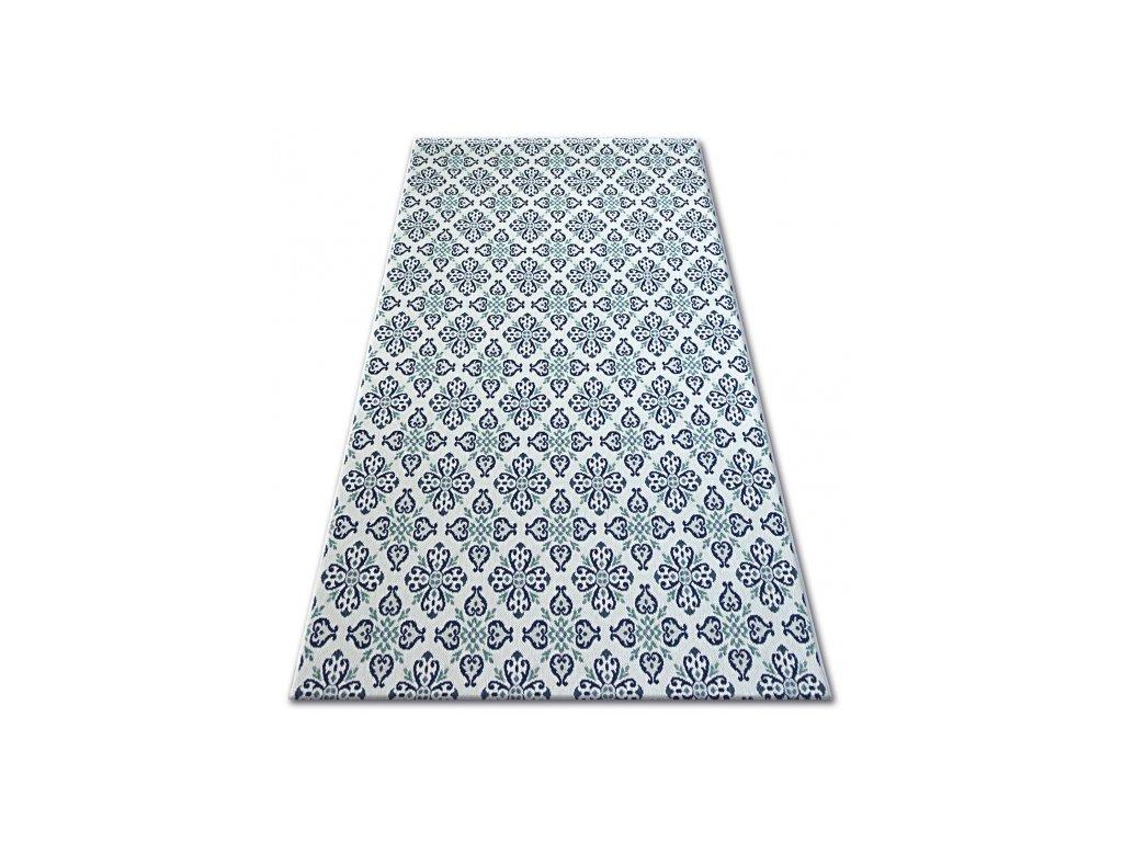 Kusový koberec Sisal COLOR 19246/969 Květy bílý