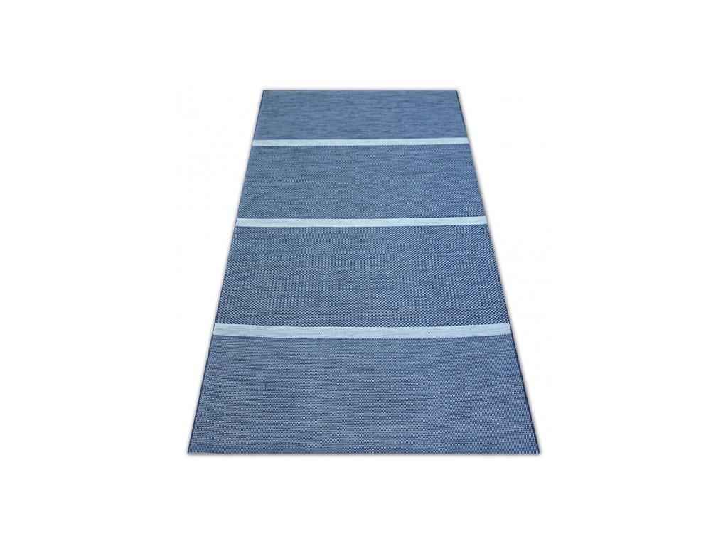 Kusový koberec Sisal COLOR 47011/309 Pruhy modrý