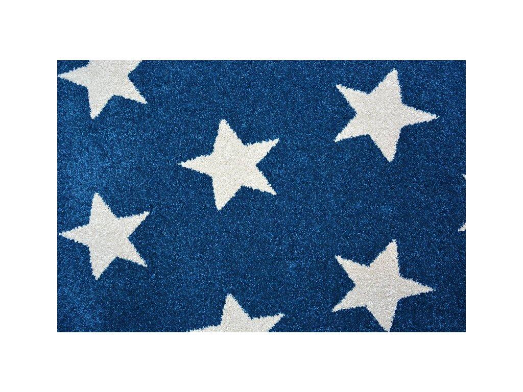 Kulatý koberec SKETCH - FA68 Hvězdy modrý / bílý