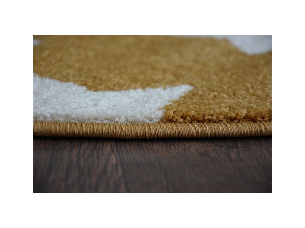 Kulatý koberec SKETCH - FA68 Hvězdy zlatý / krémový