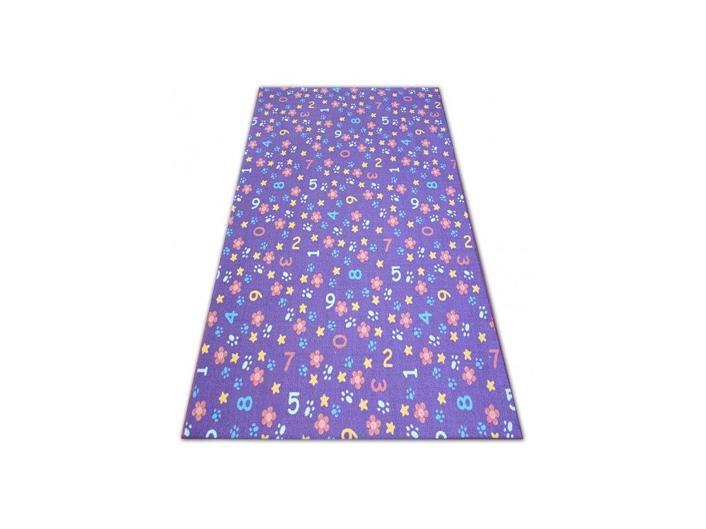 Kusový dětský koberec NUMBERS fialový číslice