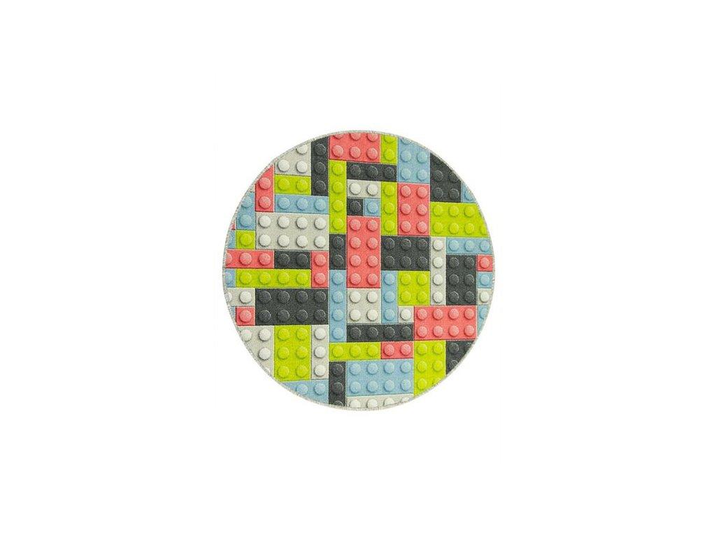 Kulatý dětský koberec Kostky pastelové Lego