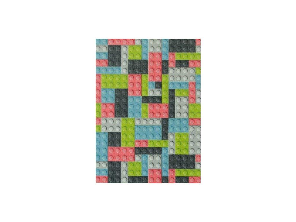 Dětský kusový koberec Kostky pastelové lego