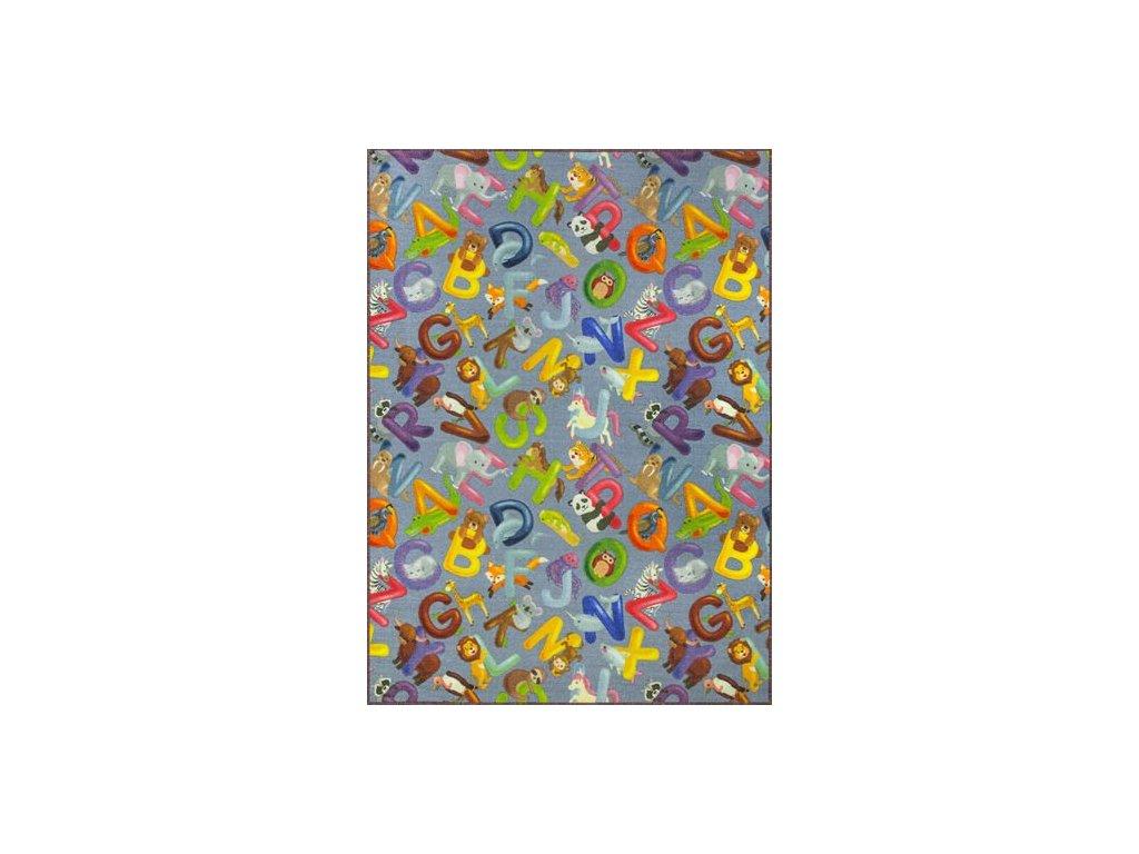 Dětský kusový koberec Alfabet 19 šedý