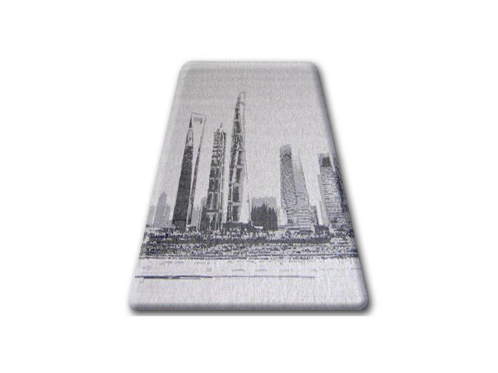Koberec Sisal Floorlux 20240 stříbrný / černý