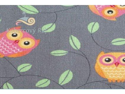 Dětský koberec Sovy šedý