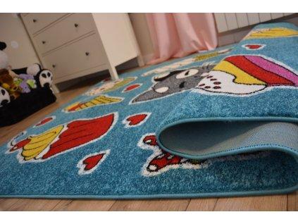 Dětský kusový koberec KIDS C415 Kočička modrý