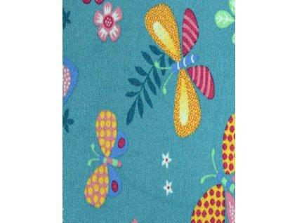 Dětský koberec Papillon 27 modrý s motýlky