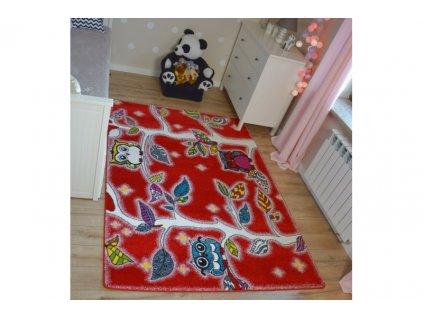 Dětský kusový koberec KIDS C427 Ptáčci červený