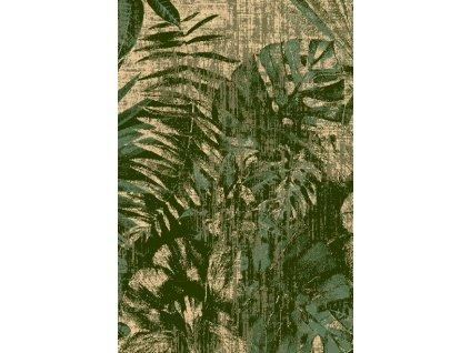 Kusový koberec vlněný  Agnella Basic Jungle Listí Tmavě zelený