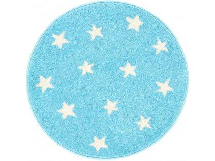 Kulatý koberec Agnella Funky Top Starf Hvězdy modrý