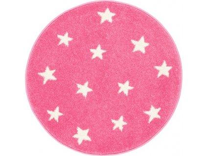 Dětský kulatý koberec Agnella Funky Top Hvězdy růžový