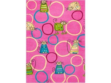 Dětský kusový koberec Agnella Funky Top Super Feline Růžový