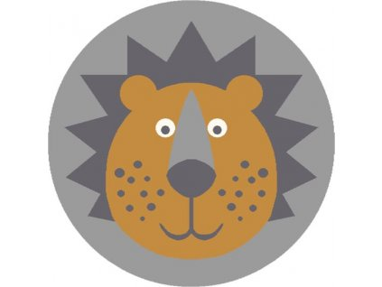 Dětský kulatý koberec Agnella Soft Lion šedý