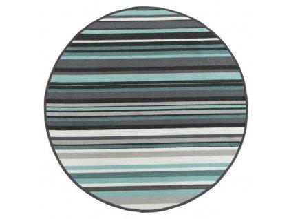Kulatý pogumovaný koberec Linie 22 šedý / tyrkysový