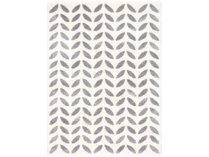 Kusový shaggy koberec Agnella Yoki Rei Bílý / šedý
